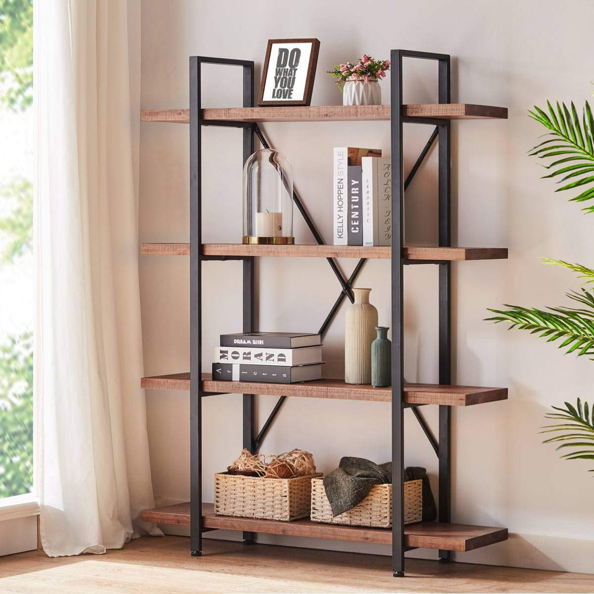 HSH Solid Wood Bookshelf, 4 Tier Rustic Vintage Industrial Etagere Bookcase, Open Metal Farmhouse Book Shelf, Distressed Brown
