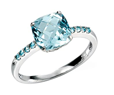 ring halo ct engagement topaz in diamond sky cushion available rings dp accent blue