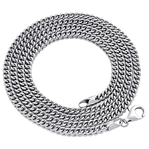 10K White Gold 3mm Hollow Franco Box Chain Necklace Lobster Clasp