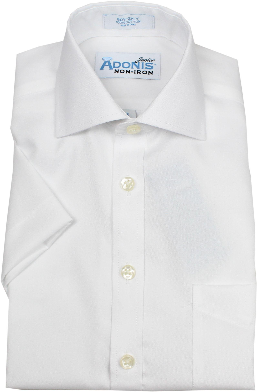 ADONIS Boys 100% Cotton Non Iron Solid White Pinpoint Short Sleeve Dress Shirt - White, 20 Husky