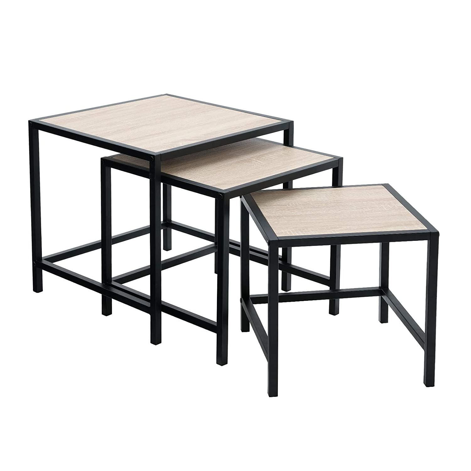 SONGMICS Nesting Side Table Set of 3, Coffee Table with Metal Frame, Wood Look, Industrial Style, for Living Room, Kitchen, Bedroom, Balcony, Rustic, Dark Brown LNT03BX