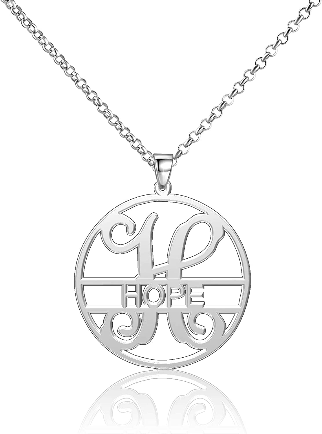 Moonlight Collections Heart Name Necklace Personalized Gifts Sterling Silver Customized Initial Pendant Chain