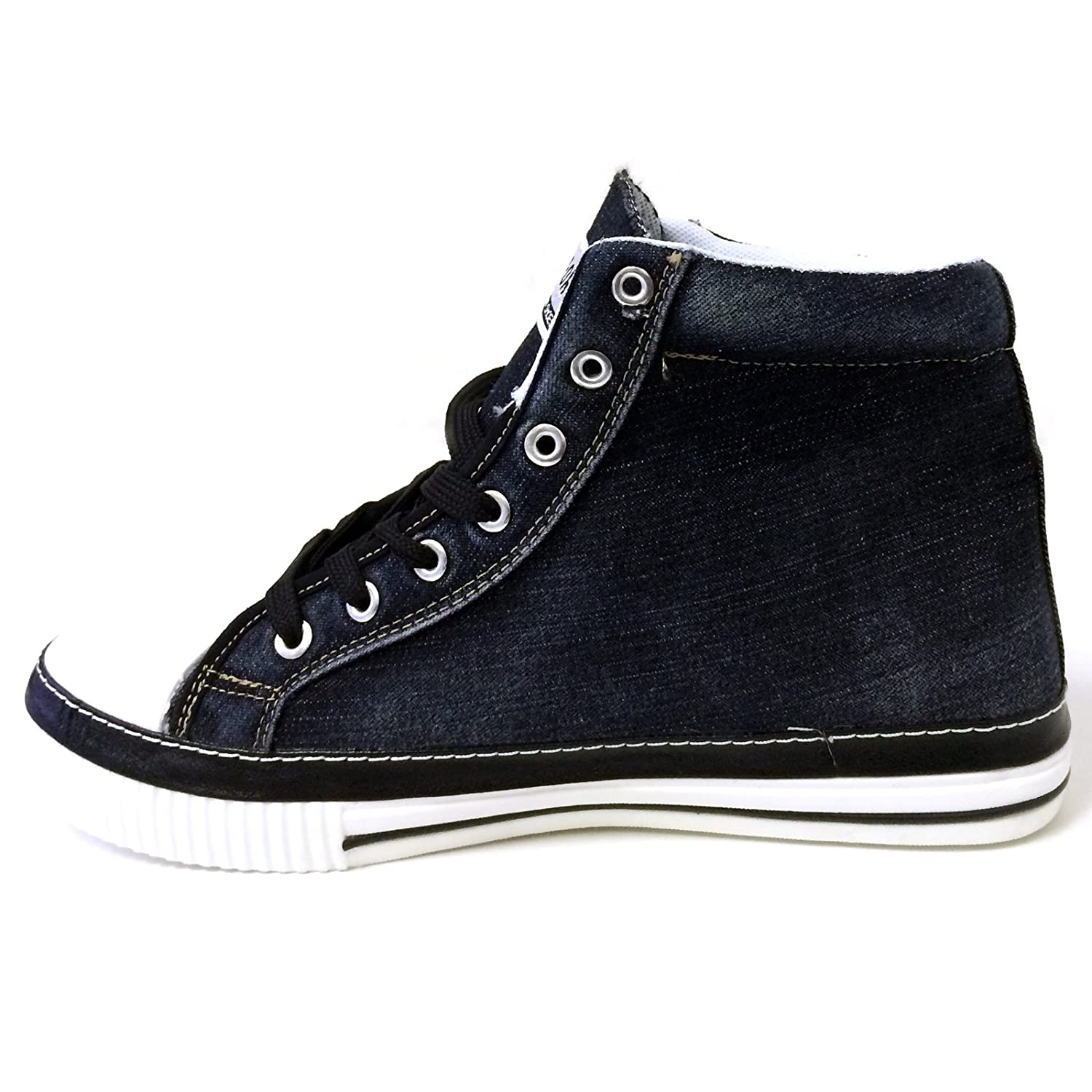 bb369fe8cf0a64 Amazon.com | JM-5709 Men's High-top Denim Sneakers Canvas Jeans Casual Lace  up Fashion Stone-Washed Boots Shoes | Fashion Sneakers