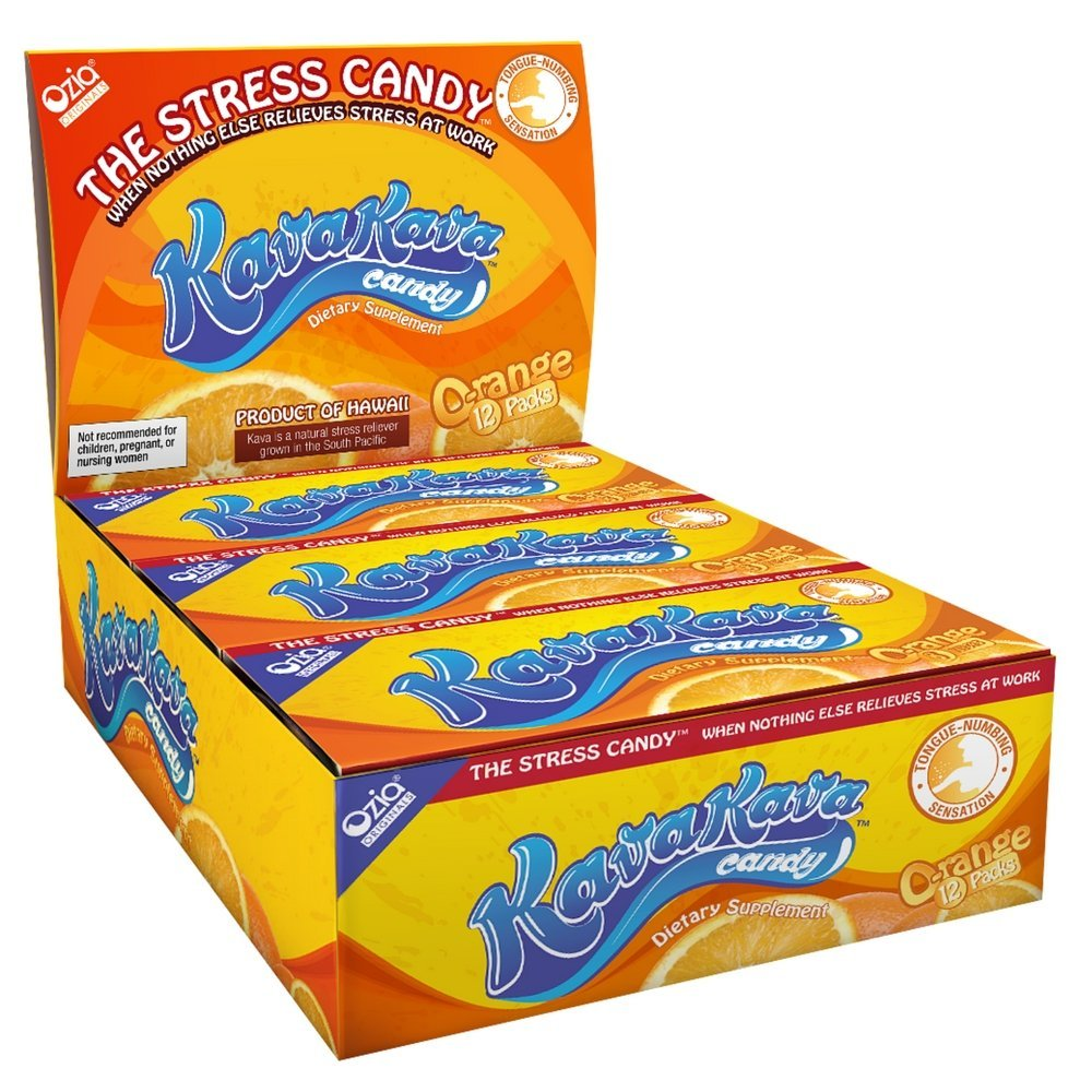 Amazon : Kava Stress Relief Candy From Hawaii Orange Flavor  1 Box (12  Individual Packs) : Hard Candy : Grocery & Gourmet Food