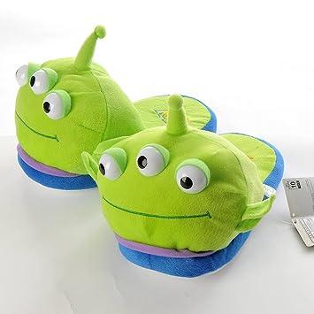 Disney Toy Story Marciano Pequeño Verde Hombre Suave Peluche Pantunflas de Casa Pies Calientes