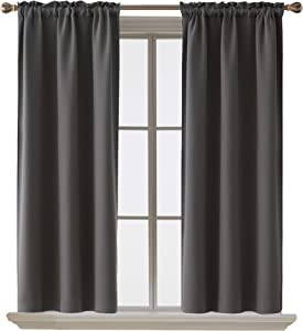 Deconovo Dark Grey Thermal Insulated Blackout Curtains, 38 x 54 Inch, Rod Pocket Room Darkening Curtain Panel for Bedroom, Set of 2