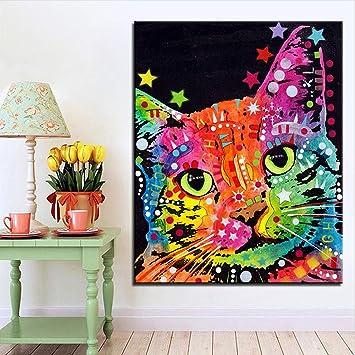 KINYNE Extracto Colorido del Gato Mural Cuadros De Animales En Lienzo Decoración del Hogar Salón Pintura Contemporánea,B,25X35cm: Amazon.es: Hogar