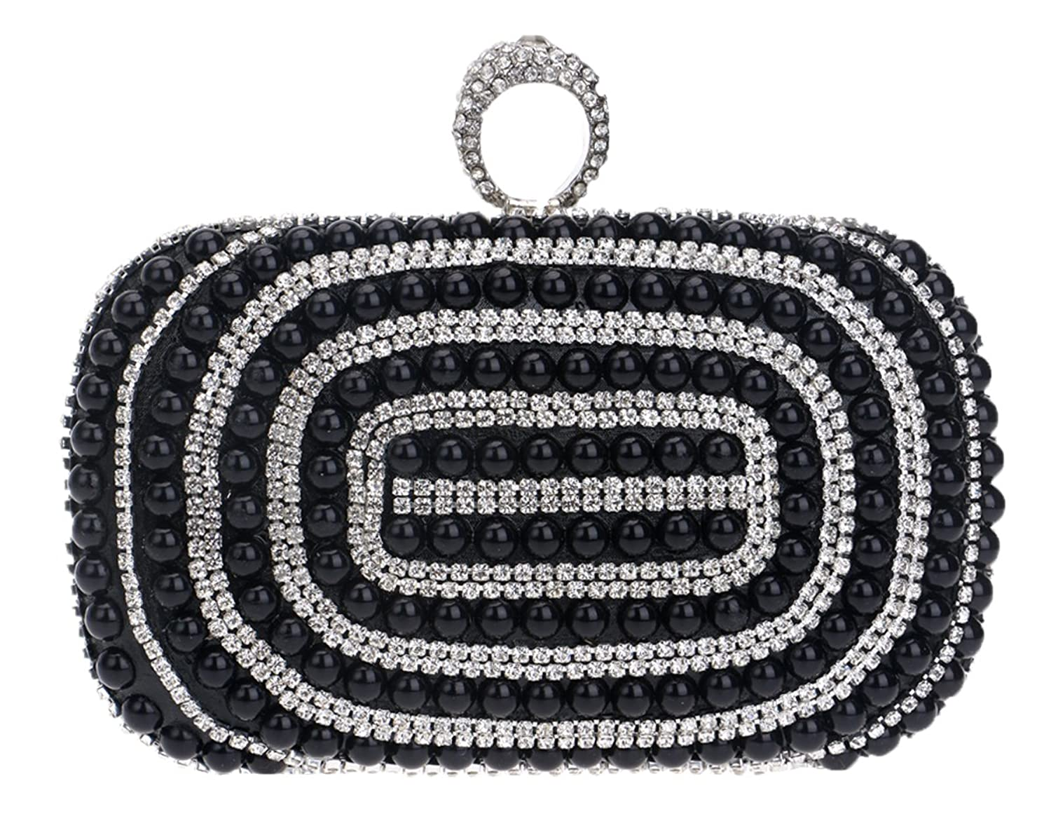 Santimon Women Clutch Shiny Rhinestone Pearls Beads Cocktail Party Ladies Handbags With Strap(5 color)