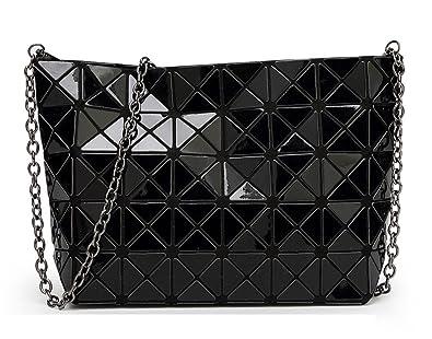 0500527c9 Luminous Handbag Lattice Design Geometric Bag Unique Purses Soft PU Leather  Wristlet Clutch Cell Phone Purse