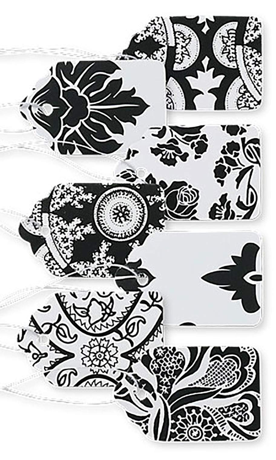 Boutique Strung Black and White Lace Paper Price Tag Assortment - 1 1/16''W x 1 5/8''H - Pack of 500