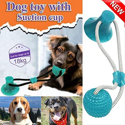 Pet Chew Ball Toy Multifunction Pet Molar Bite Toy Dog Toy with Suction Cup Cleans Teeth and Promotes Dental and Gum Health for Your Pet Dental Chew Toy for Dogs Interactive Dog Toys Green