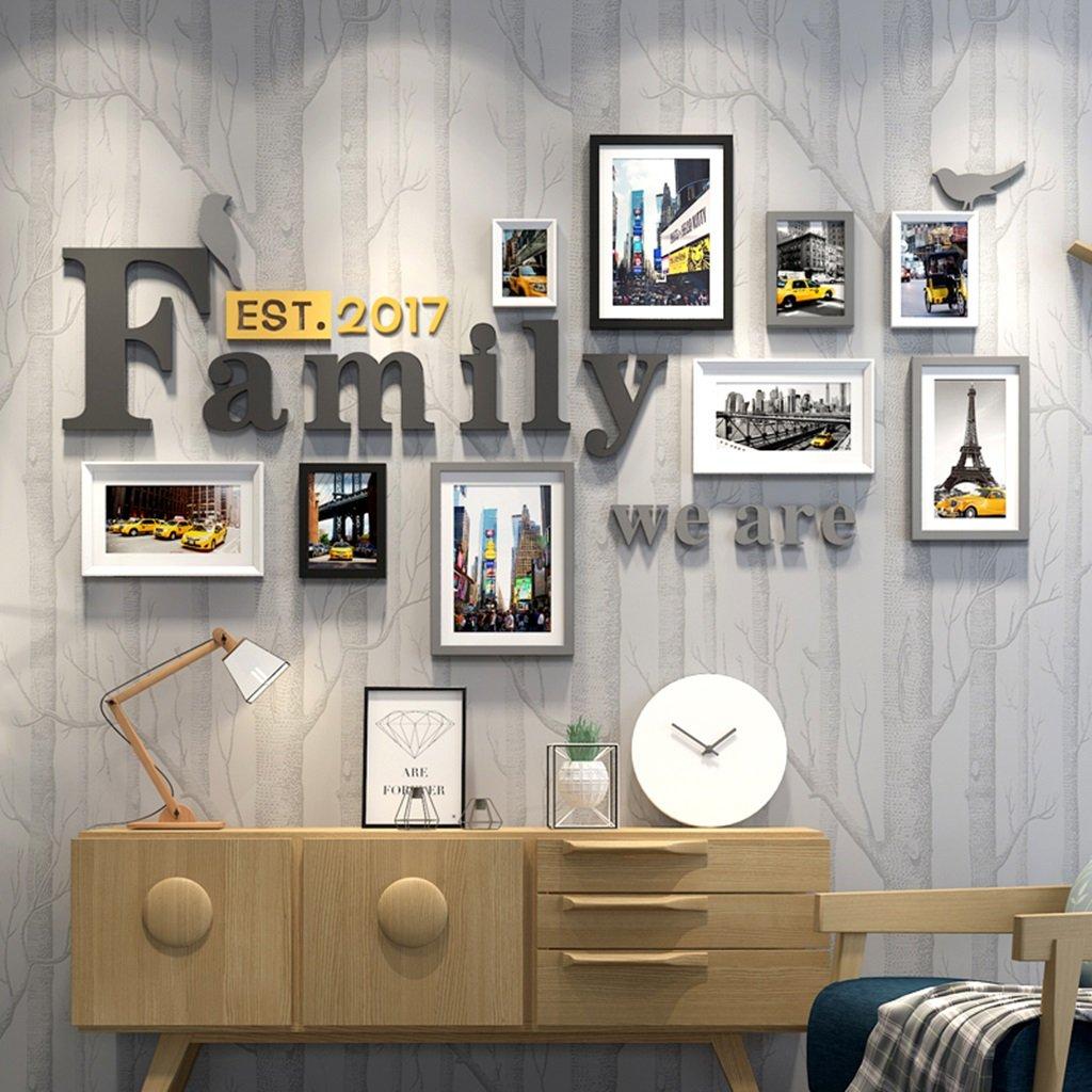 Dekorrahmen Solide Holz Bilderrahmen Set - 9 Bilderrahmen - Glasfront- Mit Bild Halterungen Multi Bild Bilderrahmenrahmen Wand Für Zuhause Zubehör ( Farbe   A )