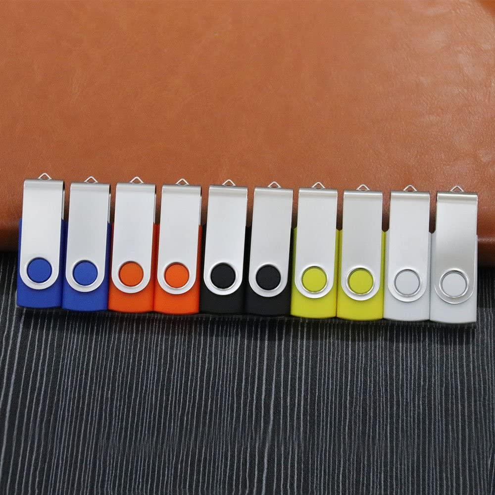 DZMWEK 16gb USB 2.0 Flash Drive Memory Stick with LED for Fold Data Storage 10-Pack Mixed Colors
