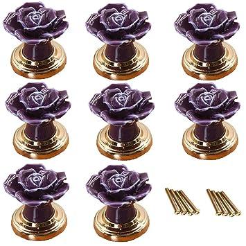 Fbshop Tm 8pcs Lovely Rose Blume Keramik Turknauf Griff Knopfe Mit