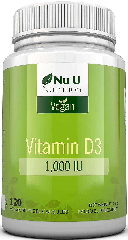 Vitamina D3 Vegana de 1000 UI | 120 Cápsulas Blandas Veganas ...