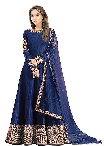 364be9942da Jiyan Fashion Women s Silk Anarkali Gown (1128- BLUE 003  Blue  Free Size)   Amazon.in  Clothing   Accessories