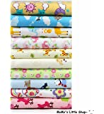 Quality 100% Brushed Cotton Fabric BUNDLE (Cute Cartoon/Animal Print, 25cmX30cm, 10 Patterns) for Nursery/Children/Babies