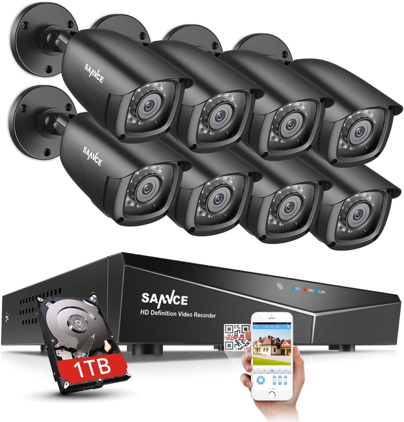SANNCE 8CH CCTV 1080N Security Surveillance System for Home with 8x720p HD IP66 Weatherproof Security Cameras and 1TB Hard Drive Included,Email Alarm, Phone Access,Motion Detection,Night Vision