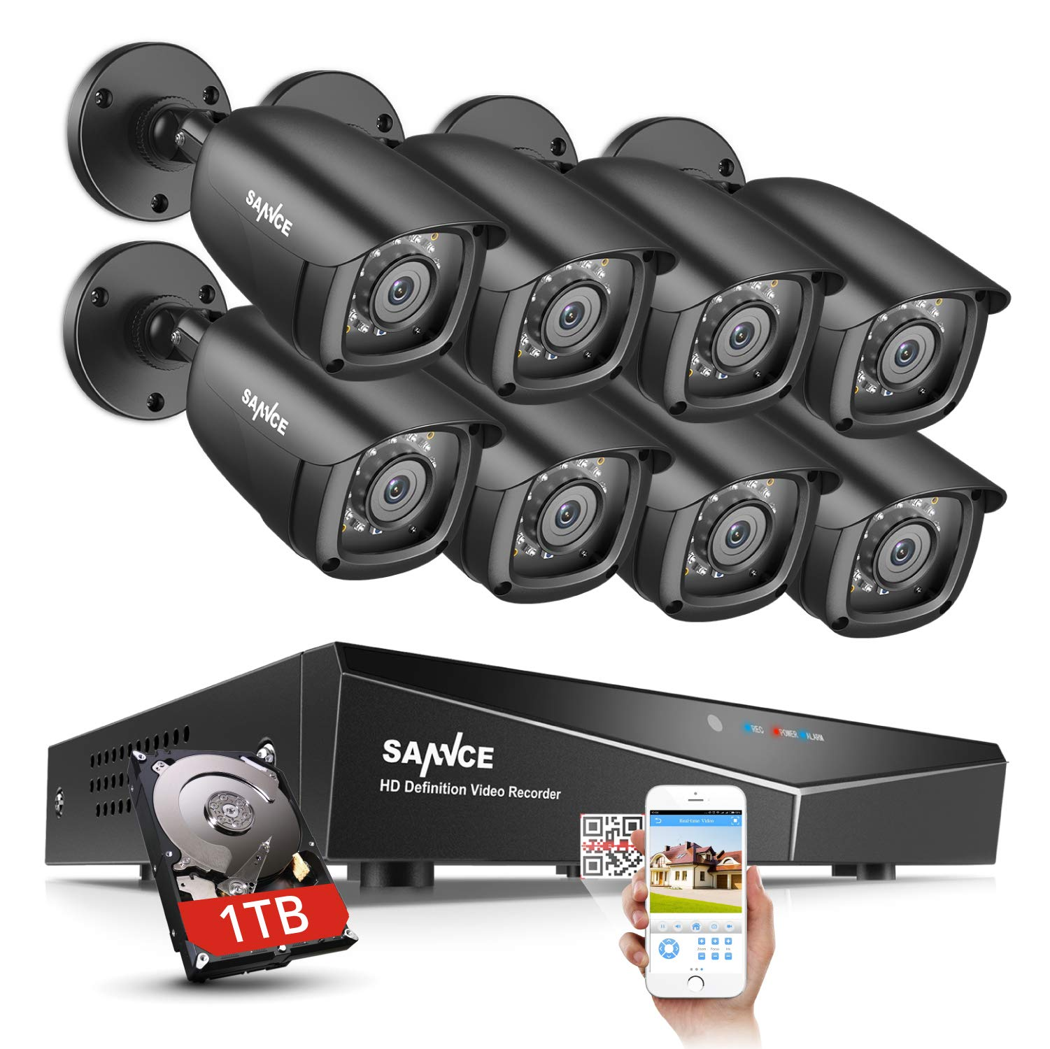 SANNCE 8CH CCTV 1080N Security Surveillance System for Home with 8x720p HD IP66 Weatherproof Security Cameras and 1TB Hard Drive Included,Email Alarm, Phone Access,Motion Detection,Night Vision by SANNCE