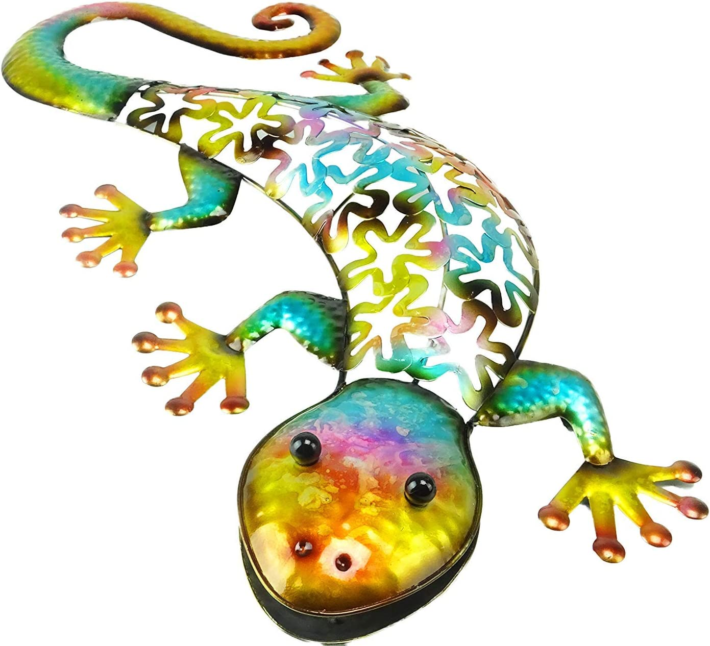 Gecko Decorative Blue Metal Wall Hanging Home /& Garden Decor