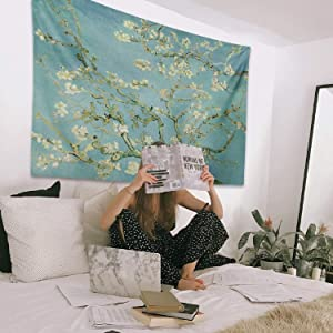 Almond Blossom - Van Gogh Painting, Digital Print Tapestry, Fabric Wall Hanging Decor for Bedroom Living Room Dorm 59.1ʺx 47.2ʺ (150cmX120cm)