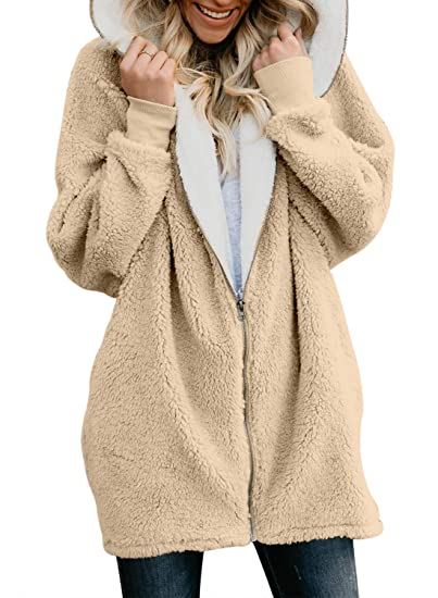 FIYOTE Womens Solid Oversized Zipper Hooded Fluffy Cardigan Coat Outwear  with Pocket  Amazon.co.uk  Clothing 7f4fd61e1