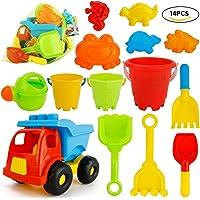 JoyGrow 14PCS Beach Car Toys with Mess Storage Bag Beach Sand Toys Set of Bucket Sand Wheel Toy Car Mini Watering Can,Shovels,Rakes,Animal Molds