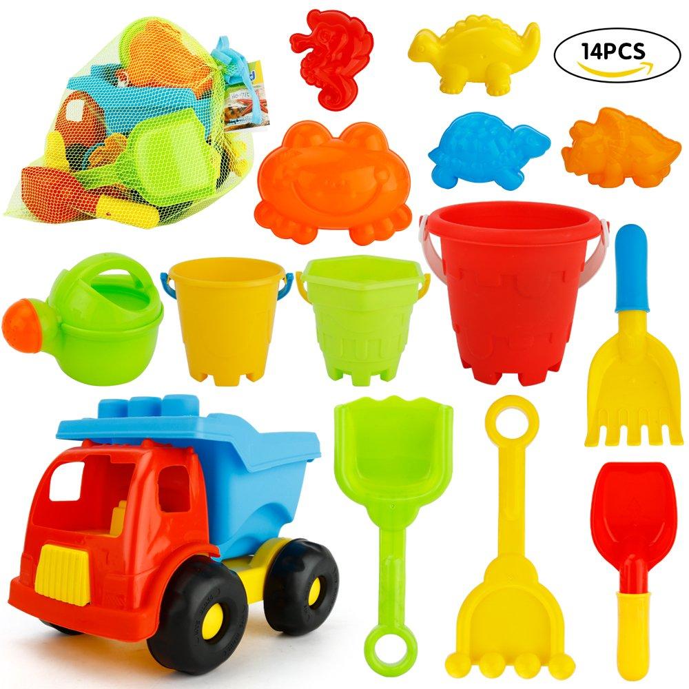 JoyGrow 14Pieces Beach Toys with Mess Storage Bag Beach Sand Toys Set Of Bucket Sand Wheel Toy Car Mini Watering Can,Shovels,Rakes,Animal Molds