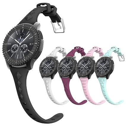 Amazon.com: Gear S3 bandas, bandas de silicona para reloj de ...
