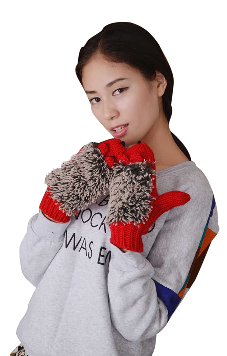 Women Girl's Lovely Hedgehog Plush Wool Knit Crochet Winter Gloves Mitten Hand Warmer Xmas Gift
