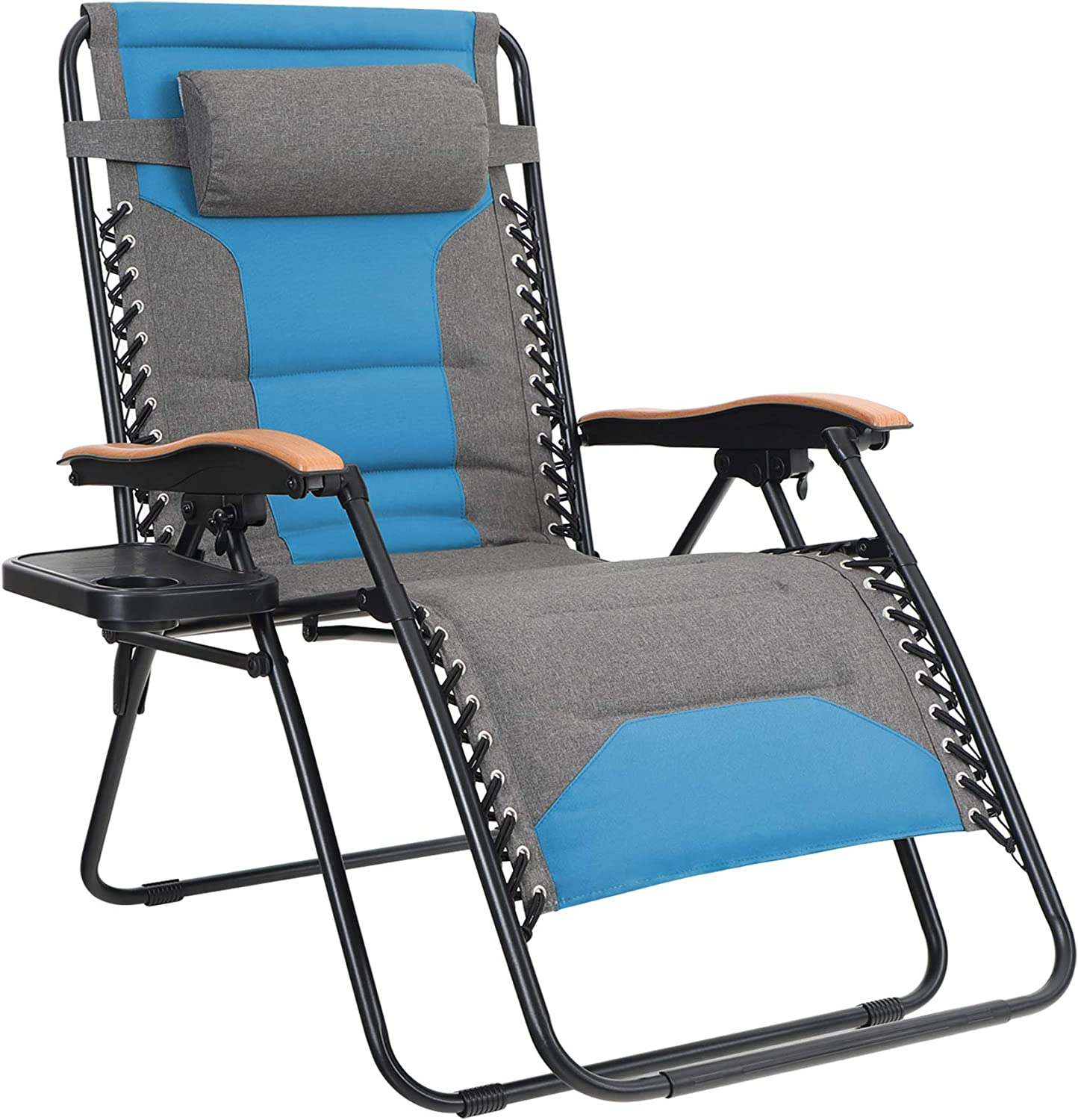 MFSTUDIO Oversized Zero Gravity Chair XL Patio Recliners Padded Folding Chair with Cup Holder, Extra Wide Chaise Lounge for Outdoor Yard Poolside, Pacific Blue