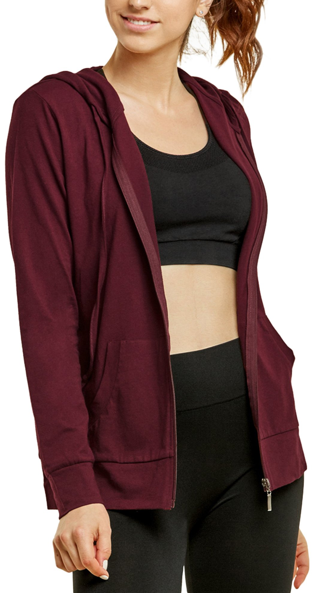 ToBeInStyle Women's Thin Fabric L.S. Zip up Hoodie - Burgundy - Large