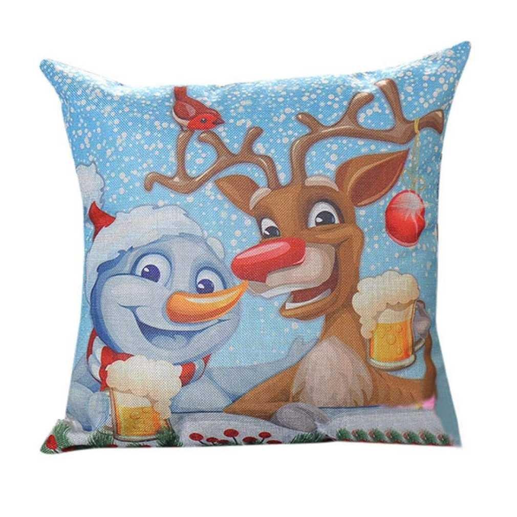 federe cuscini, Fittingran Federe natalizie Federe modellabili a forma di cervo Federa per cuscino natalizio in cotone con federe in cotone