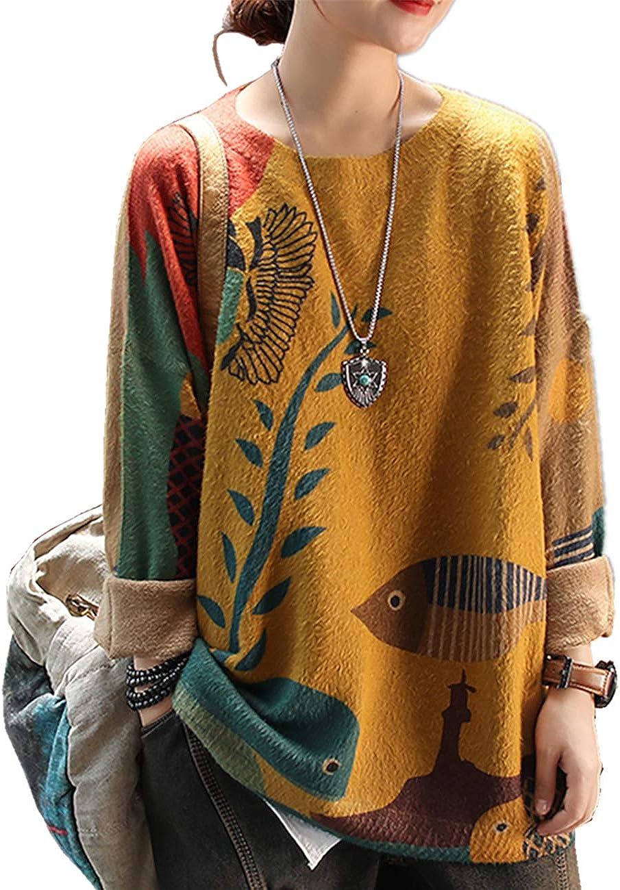 YESNOWomenCausalGraphicCrew NeckLooseLongSleeveKnittedPulloverPrintedSweater