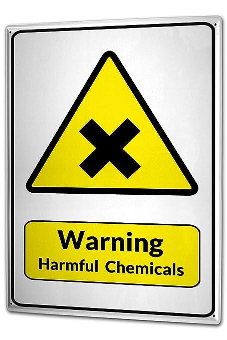 Tin Sign Warning Sign Warning Harmful Chemicals Cross Symbol In