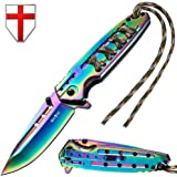 Tactical Folding Knife - Spring Assisted Knife - EDC Outdoor Pocket Folding Knives Rainbow Stainless Steel Blade Paracord Handle - Best Urban Tourist Pocket Knife for Travel Hiking- Grand Way 24448