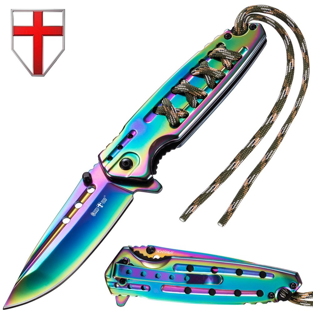 Grand Way Tactical Folding Knife - Spring Assisted Knife - EDC Outdoor Pocket Folding Knives Rainbow Stainless Steel Blade Paracord Handle - Best Urban Tourist Pocket Knife for Travel Hiking 24448