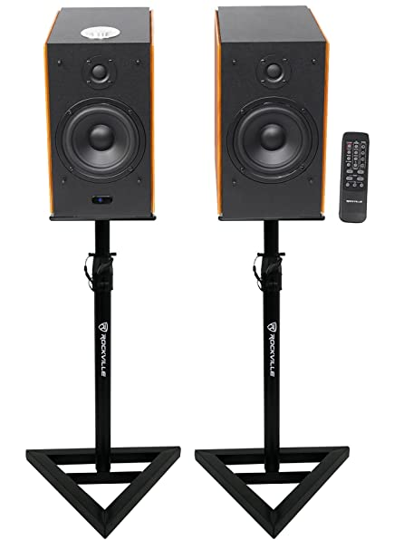Pair Rockville HD5 5quot 150 Watt RMS Bluetooth Home Bookshelf Speakers Stands