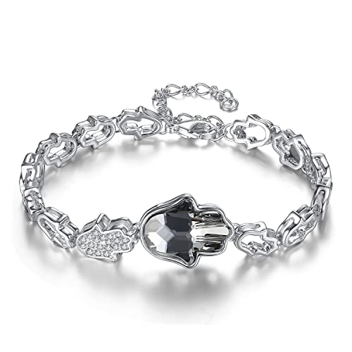 Leafael Presented by Miss New York Evil Eye Hamsa Hand Silver-Tone Bracelet Made with Swarovski Crystals, 7 2.3 , Nickel Lead Allergy Free, Luxury Gift Box