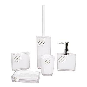 Set da bagno in 5 pezzi, design con strass, dispenser di sapone ...