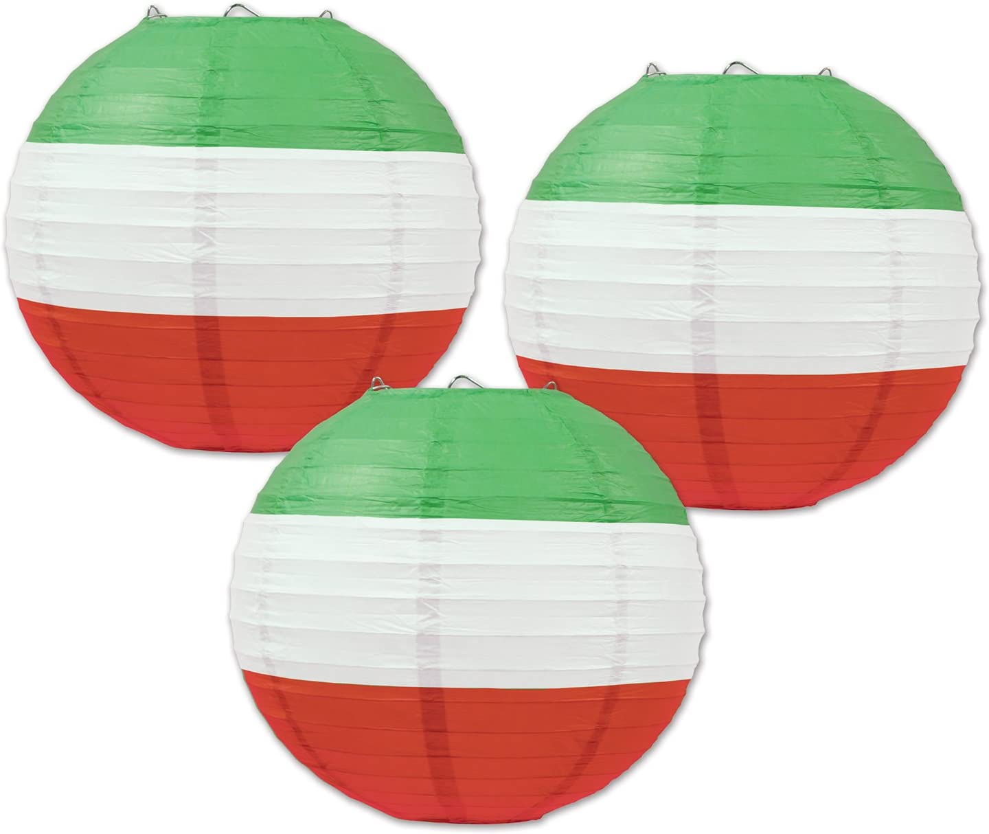 Beistle Paper Lanterns, 9 1/2-Inch, Red/White/Green