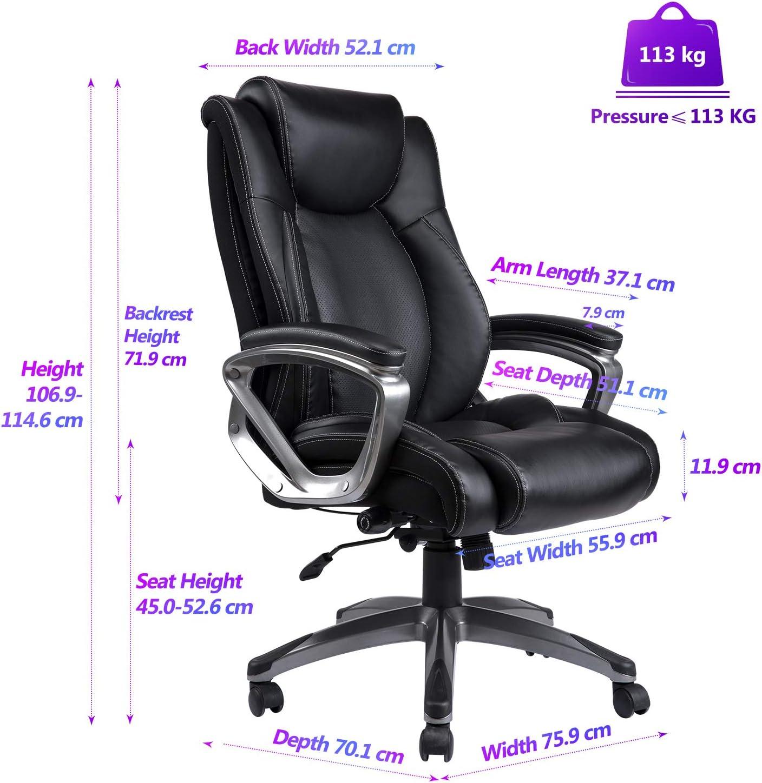 REFICCER Bonded Lederen bureaustoel Verstelbare ingebouwde
