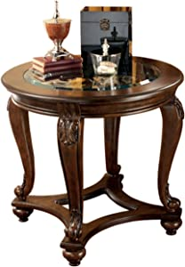 Signature Design by Ashley - Norcastle Traditional Round End Table, Dark Brown