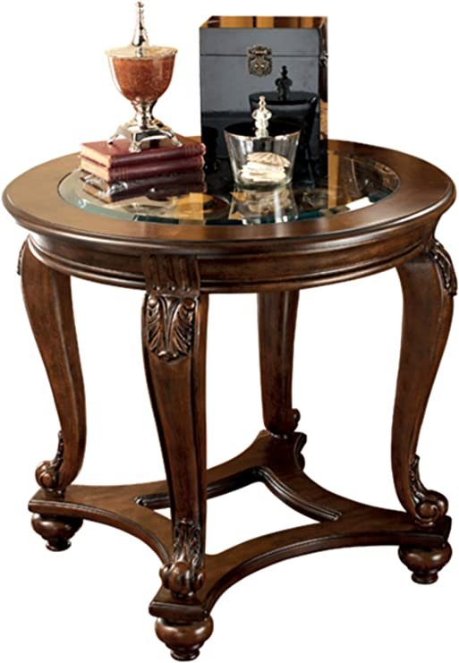 Amazon Com Signature Design By Ashley Norcastle Traditional Round End Table Dark Brown Kitchen Dining Room Furniture