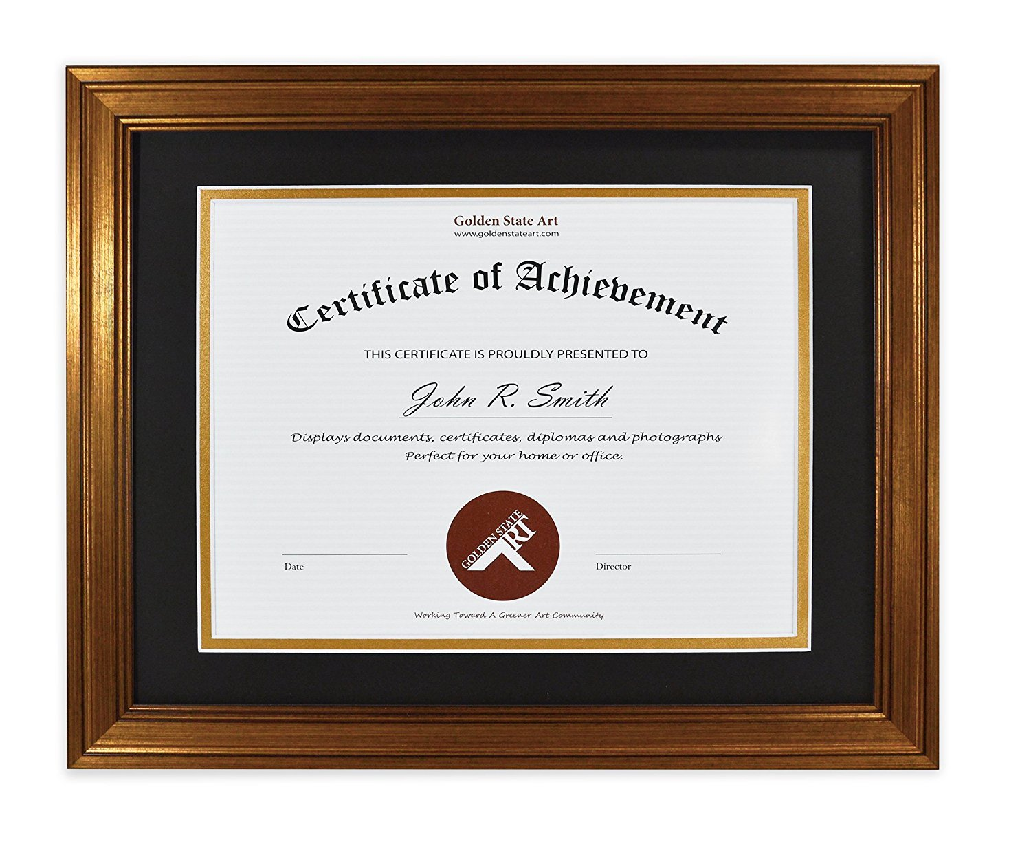 Golden State Art 11x14 Frame for 8.5x11 Diploma/Certificate, Dark Gold Color. Includes Black Over Gold Double Mat and Real Glass