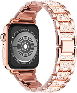 Surace Bling Bands Compatible with Apple Watch Band 42mm 44mm Women, Jewelry Metal Diamond Bracelet Replacement for Apple Watch Series 6 Bands 44mm Compatible with Apple Watch SE, Rose Gold
