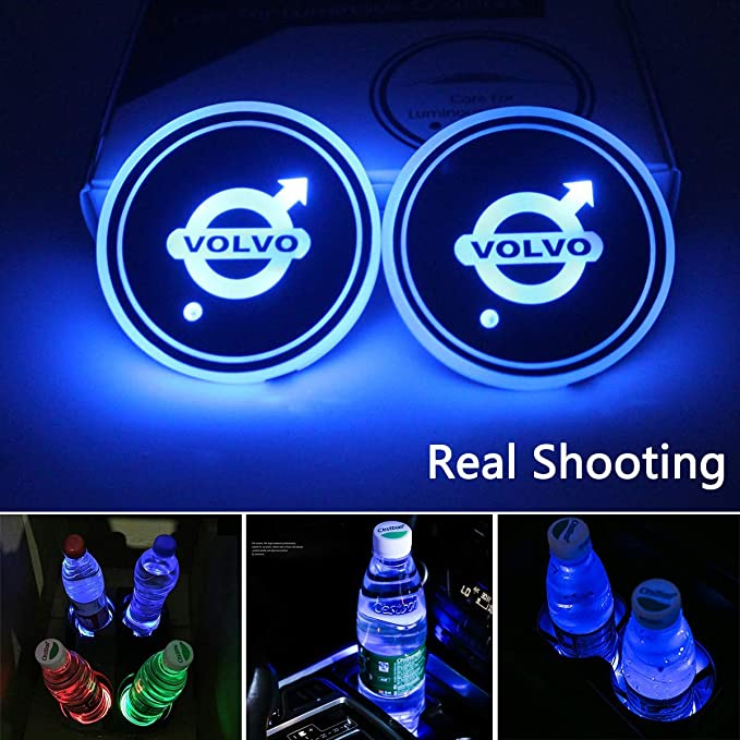 7 Colors Changing USB Charging Mat Luminescent Cup Pad 2 Pieces Nobrand for MercedesLED Car Cup Holder Lights LED Interior Atmosphere Lamp