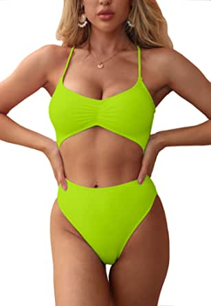 fatty tiger Womens One Piece Swimsuits Deep V Neck Bathing Suits Ruched Front Lace Up Bikini Set