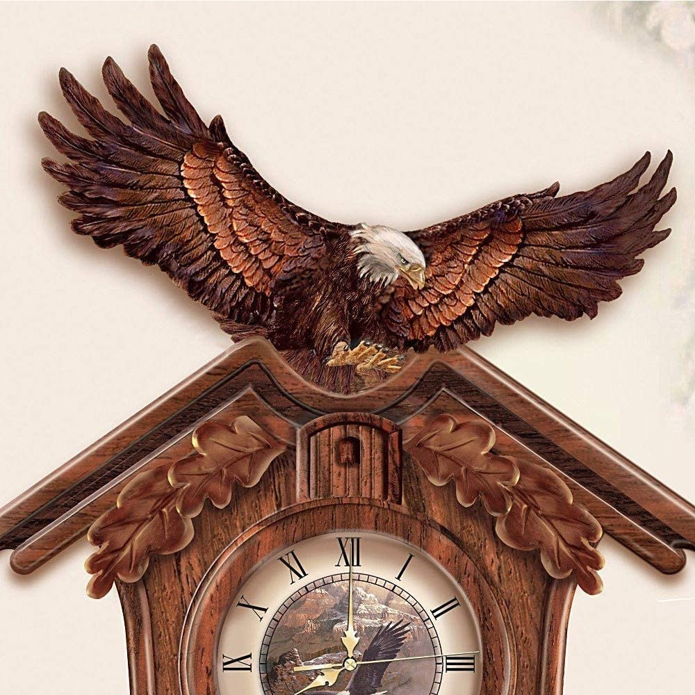 Rustic Majestic Eagle Clock Wild Life Bald Eables Cuckoo Clocks NEW