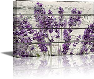 "wall26 Rustic Home Decor Canvas Wall Art - Retro Style Purple Lavender Flowers on Vintage Wood Background Modern Living Room/Bedroom Decoration Stretched and Ready to Hang - 16"" x 24"""